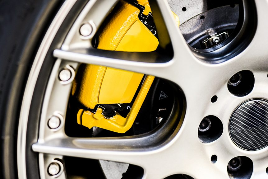Wheel with its yellow brake