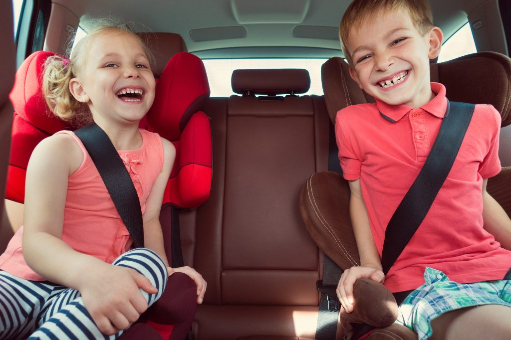 kids laughing in the car