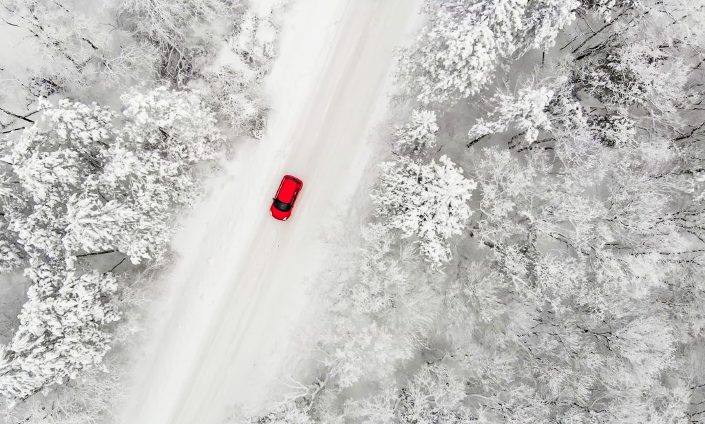 red winter car