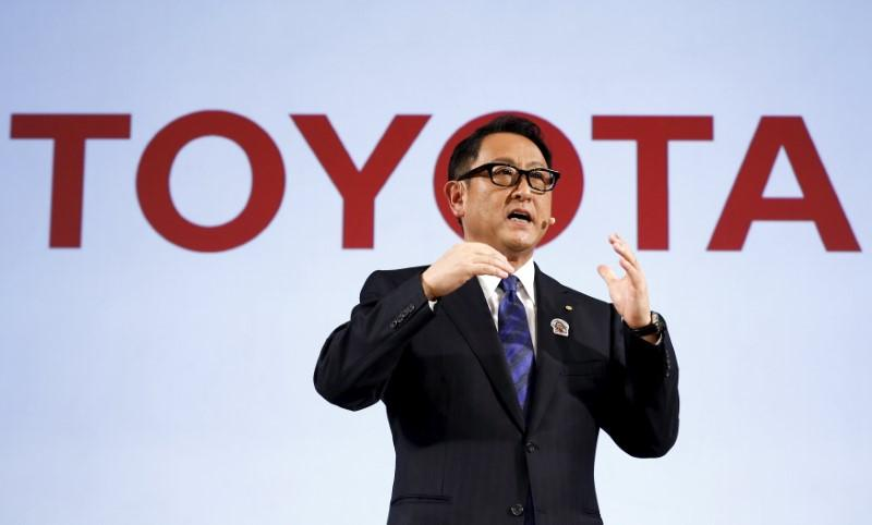 President of the Toyota Motor Corporation Akio Toyoda delivers a speech before signing a partnership deal with the International Paralympic Committee in Tokyo